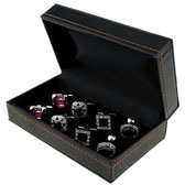 Imitation leather + Plastic Cufflinks Boxes  Black Classic Cufflinks Boxes Cufflinks Boxes Wholesale & Customized  CL210533